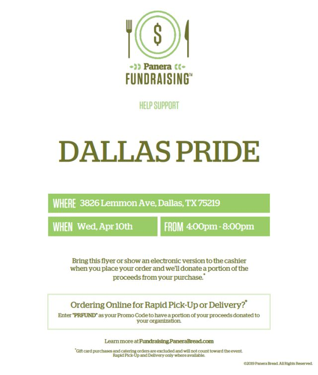 Panera Bread fundraiser for Dallas Pride